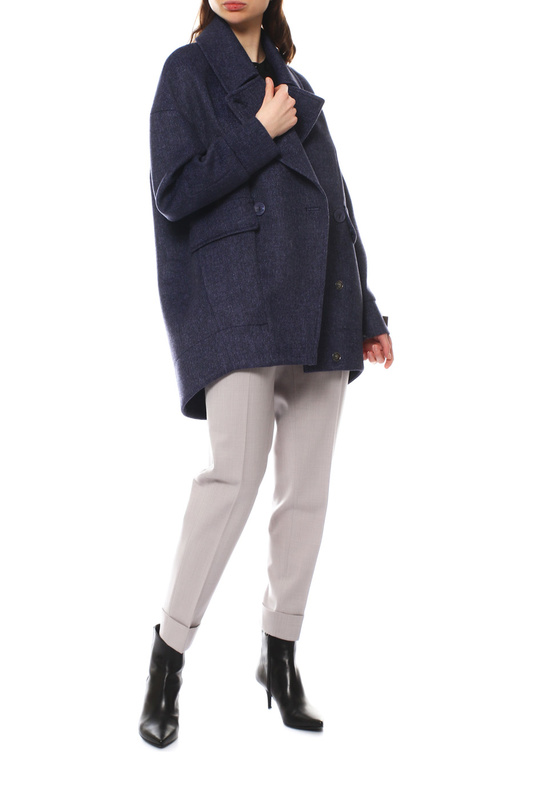 Пальто женское Paradox Л-428 ТВИД-1768 синее 42-170