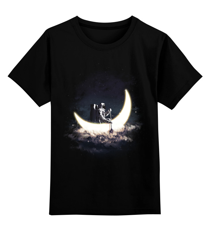 Детская футболка Printio Лунная лодка цв.черный р.152 0000002946764 по цене 884