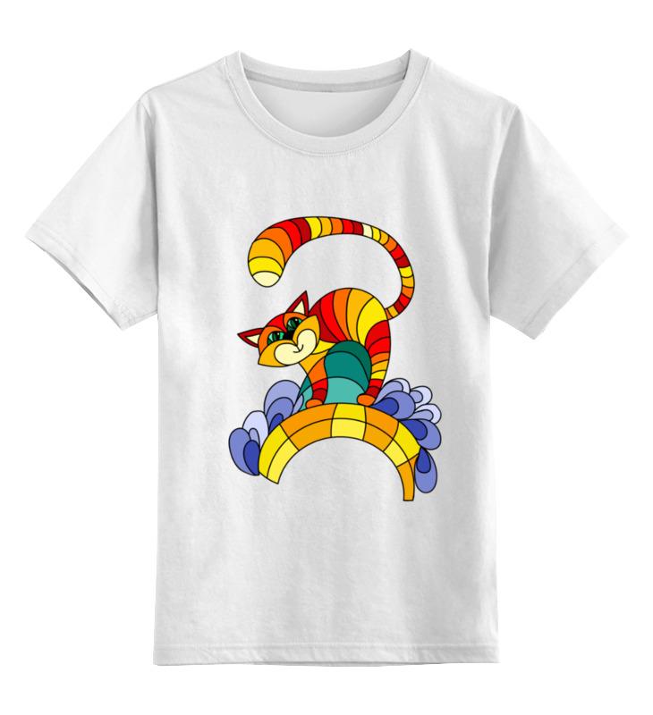 Купить 0000003063889, Детская футболка Printio Полосатый кот цв.белый р.140,