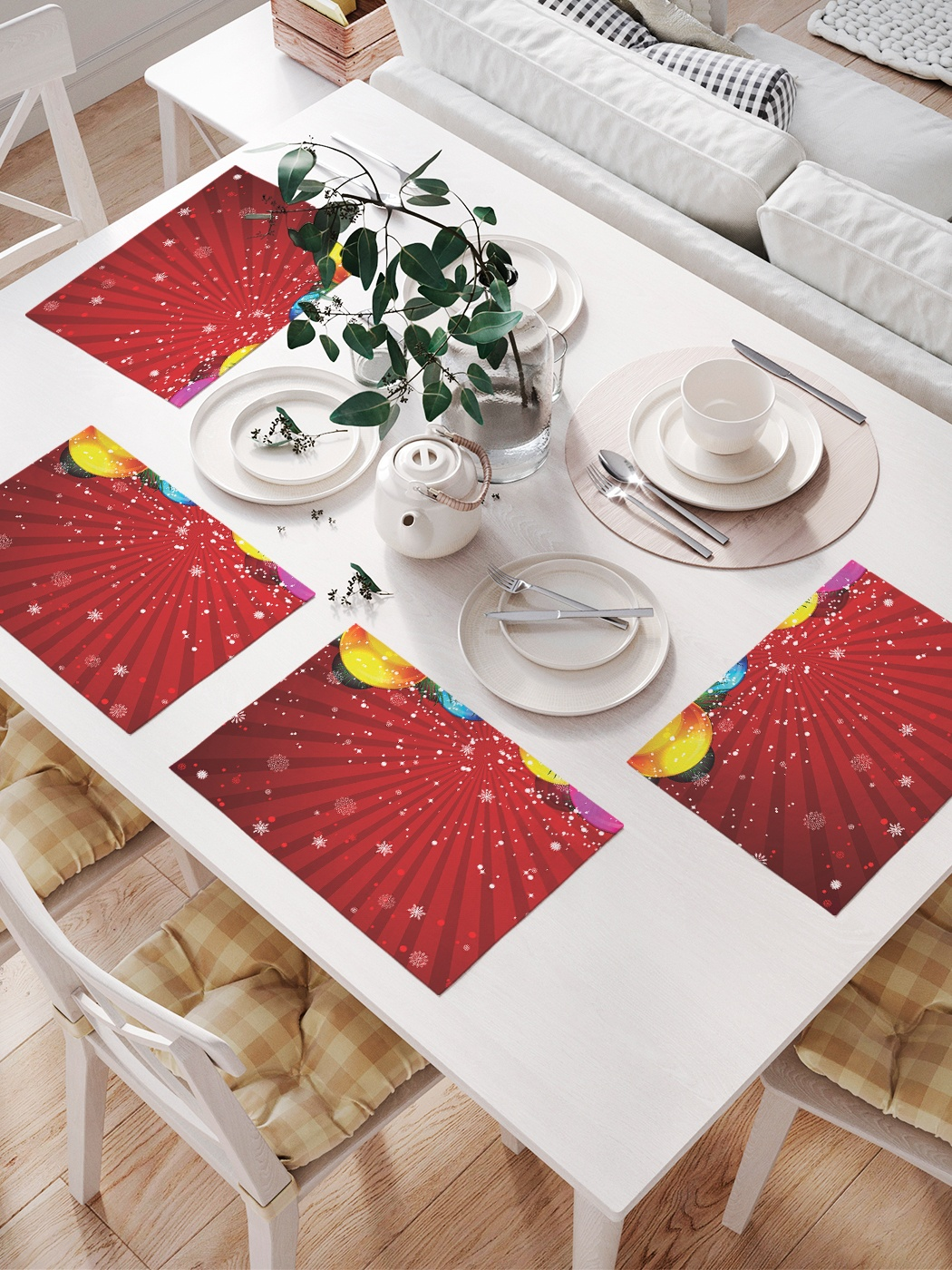 Комплект салфеток для сервировки стола «Шары и рождество» (32х46 см, 4 шт.)