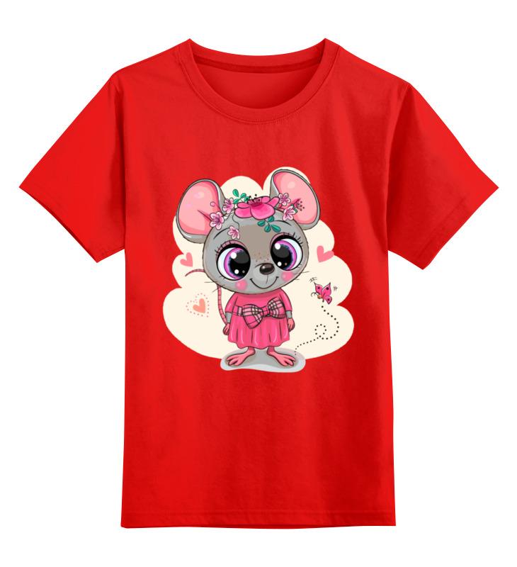 Купить 0000003062566, Детская футболка Printio Мышонок цв.красный р.128,