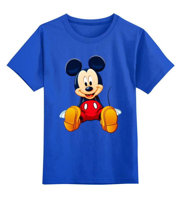 Купить 0000003062585, Детская футболка Printio Мышонок цв.синий р.128,