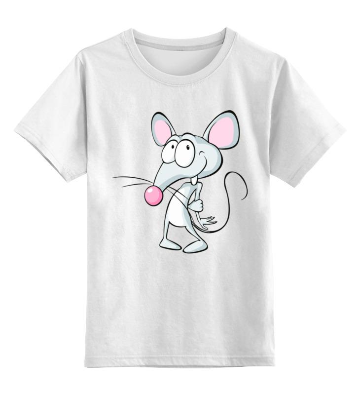 Купить 0000003062590, Детская футболка Printio Мышонок цв.белый р.128,