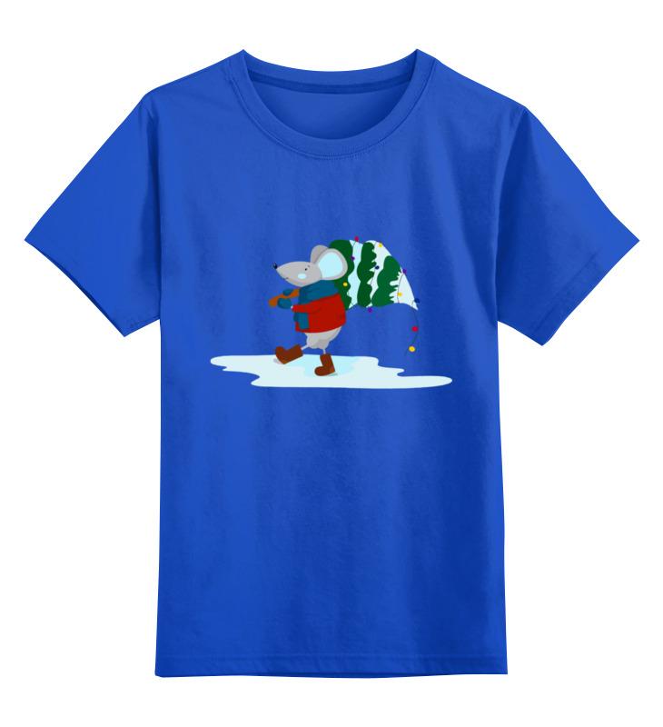 0000003062608, Детская футболка Printio Мышонок цв.синий р.128,  - купить со скидкой