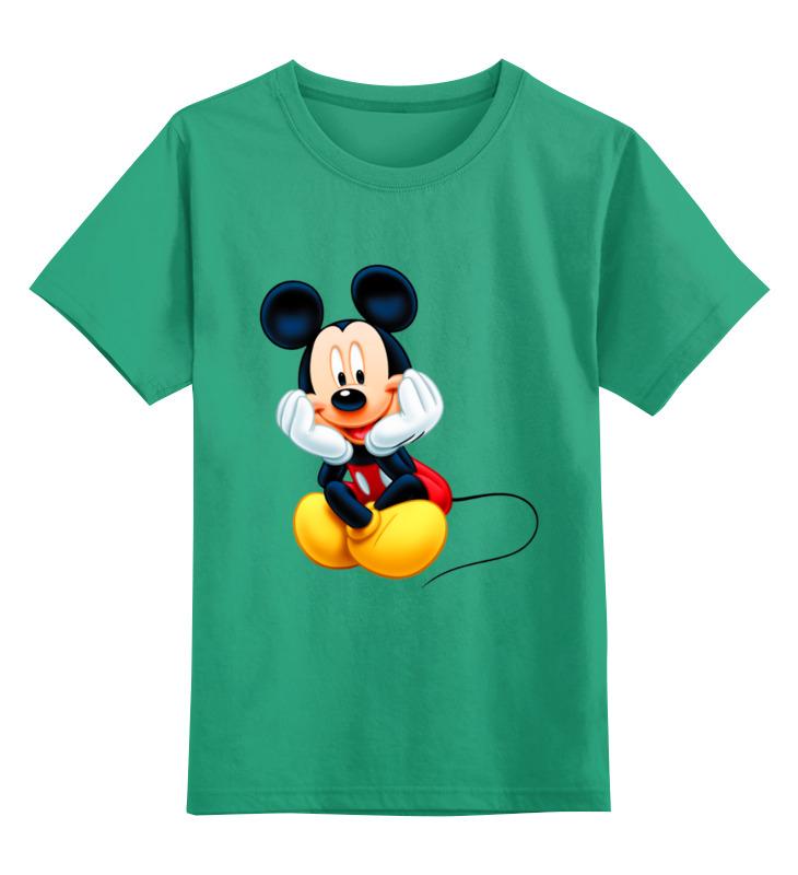 Купить 0000003062615, Детская футболка Printio Мышонок цв.зеленый р.128,