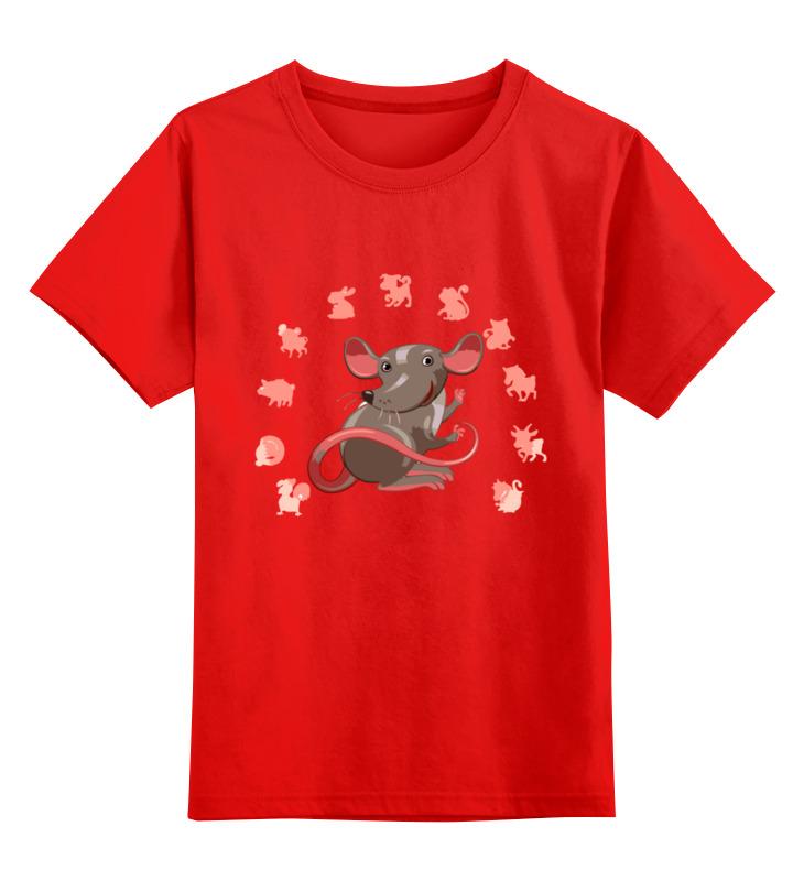 Купить 0000003062657, Детская футболка Printio Мышонок цв.красный р.128,