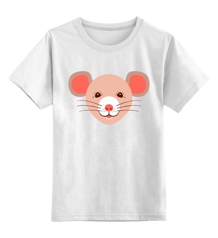 Купить 0000003062658, Детская футболка Printio Мышонок цв.белый р.128,