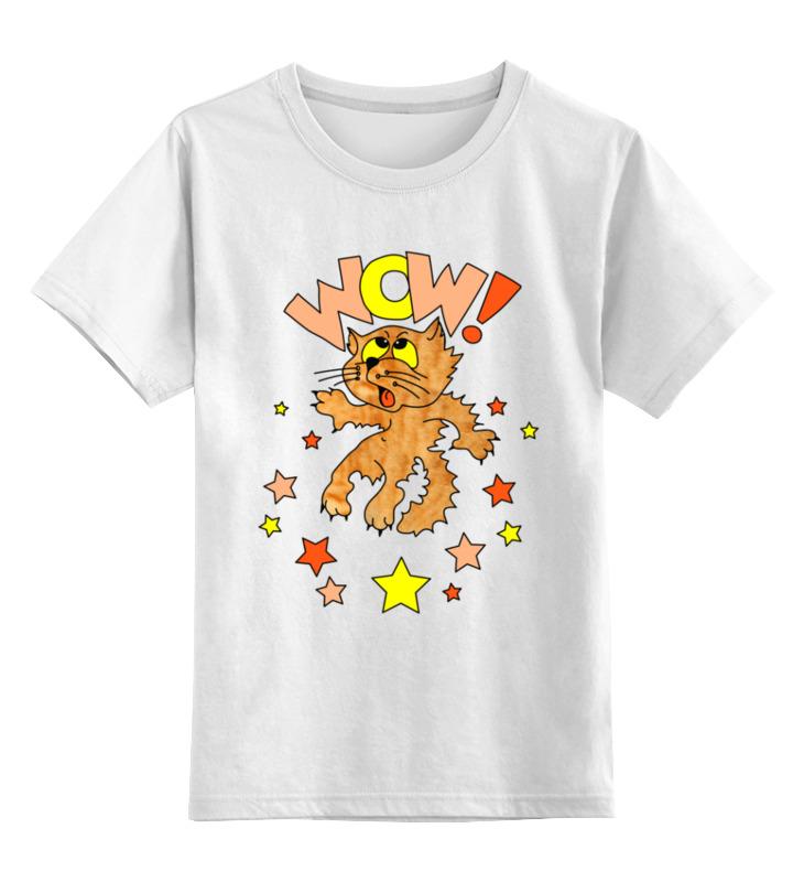 Купить 0000003064193, Детская футболка Printio Котик-будущая звезда цв.белый р.128,