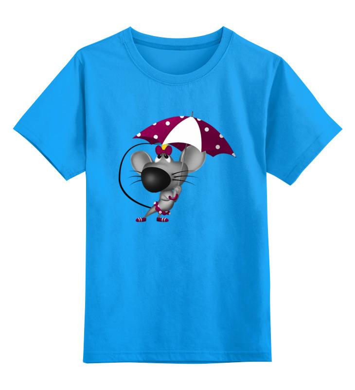 Купить 0000003086284, Детская футболка Printio Мышонок цв.голубой р.128,
