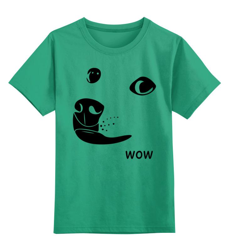 Купить 0000003095315, Детская футболка Printio Wow dode цв.зеленый р.128,