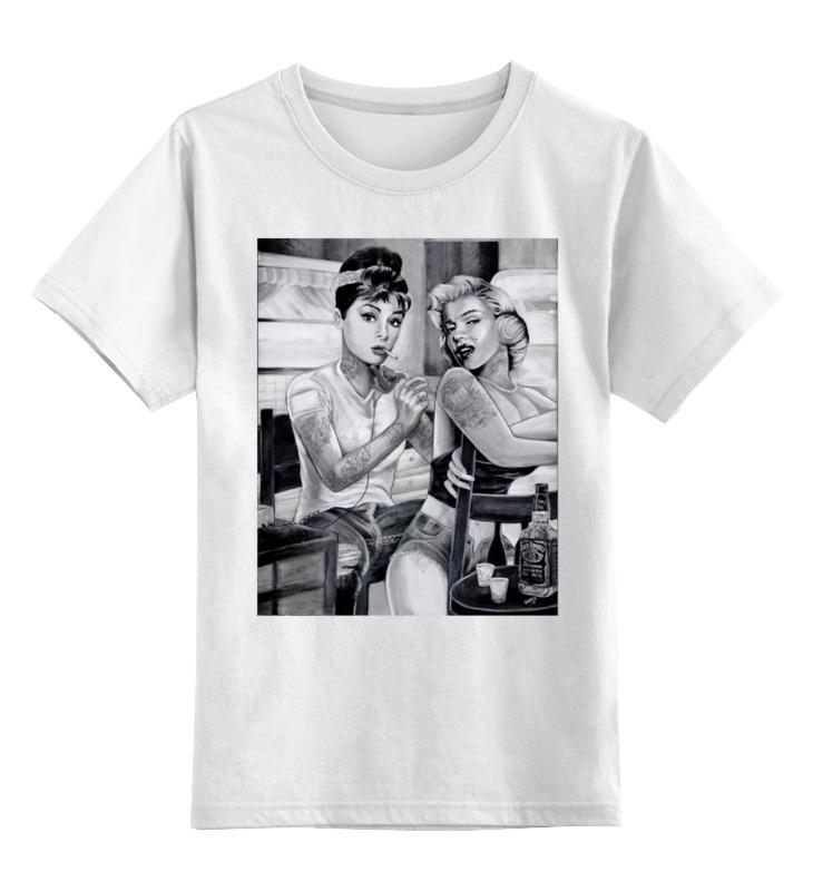 Купить 0000000642554, Детская футболка классическая Printio Одри и мэрилин, р. 140,