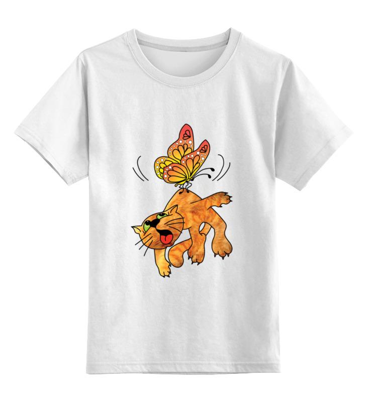 Детская футболка Printio Кот и бабочка цв.белый р.116 0000003064223