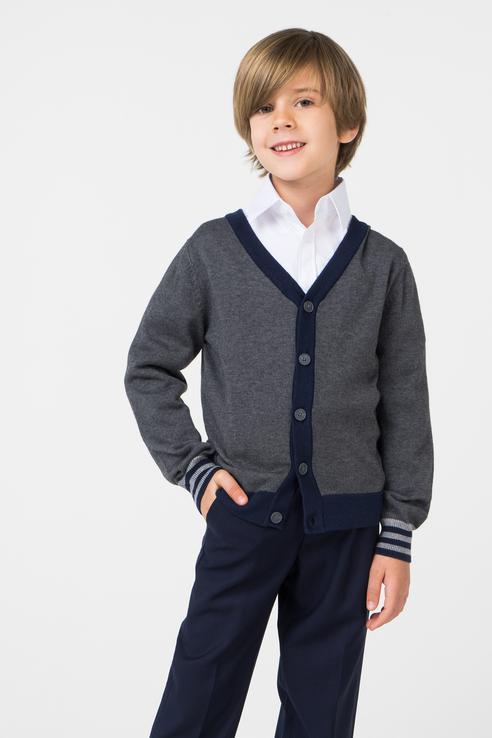 Кардиган для мальчика Gulliver, цв.серый, р-р 122 218GSBC3503