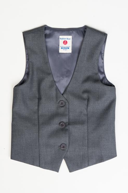 Купить 219BBGS47020100, Жилет для девочки Button Blue, цв.серый, р-р 128,
