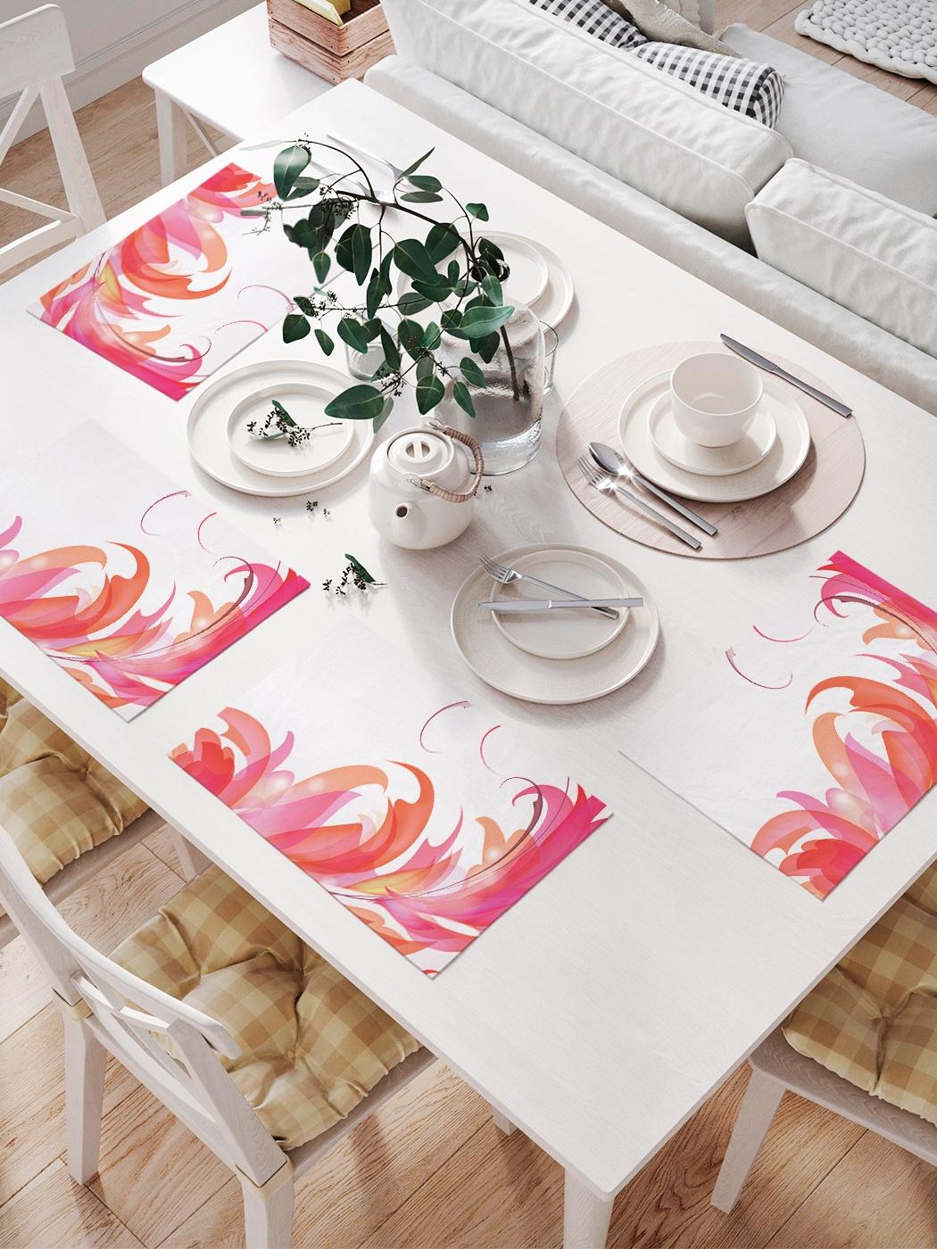 Комплект салфеток для сервировки стола «Цветочные языки» (32х46 см, 4 шт.)