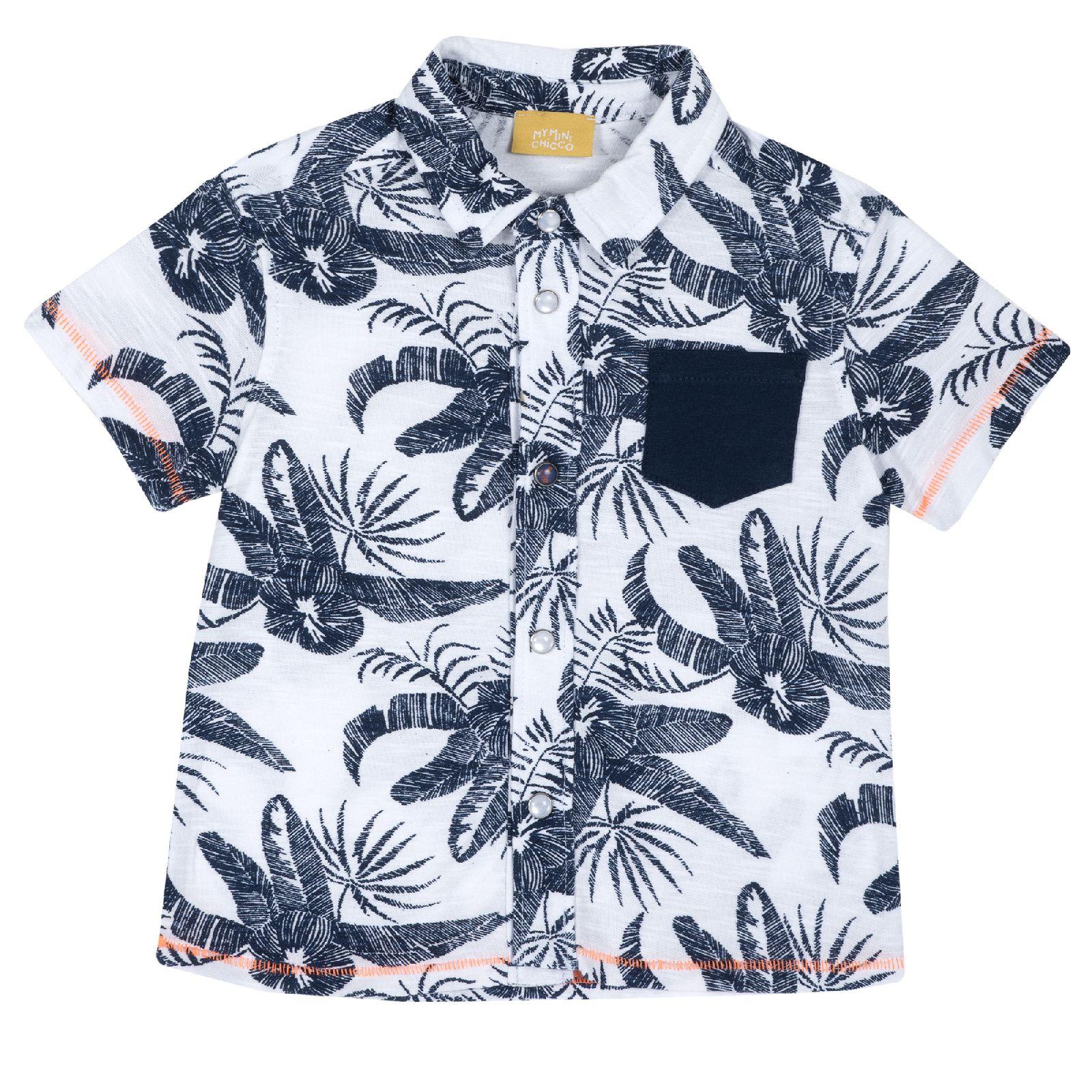 Рубашка Chicco Гавайи, для мальчика, р.86, цв. белый