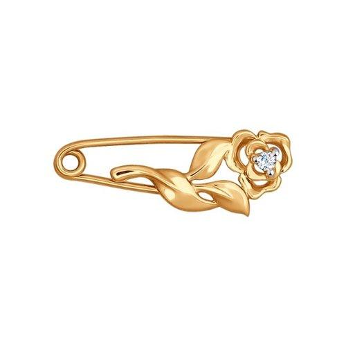 Брошь SOKOLOV из золота с фианитом 040187, 040187