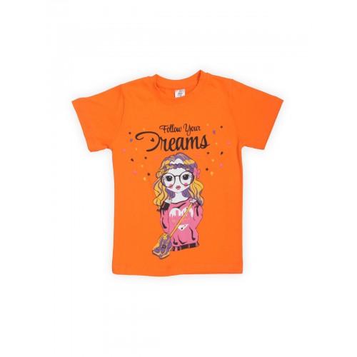 Купить 1239-01, Футболка для девочек LELO, цв. оранжевый, р-р 128, Футболки для девочек