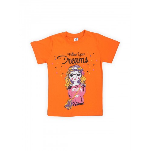 Купить 1239-01, Футболка для девочек LELO, цв. оранжевый, р-р 140, Футболки для девочек