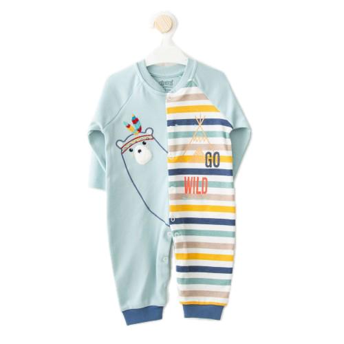 Купить 1463-01, Комбинезон для мальчиков KIDAXI BABY, цв. зеленый, р-р 68, Трикотажные комбинезоны для новорожденных