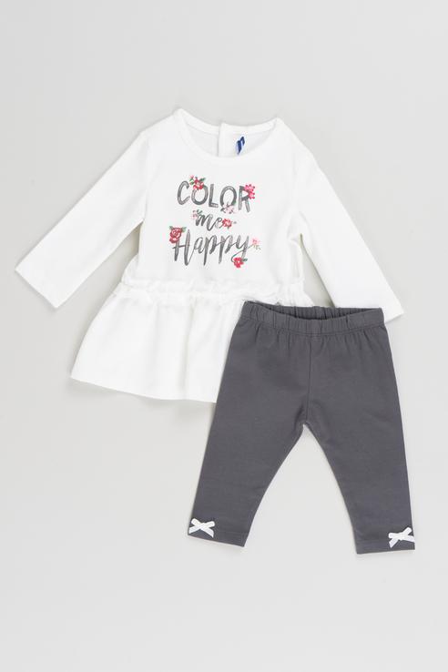Купить Комплект (платье, леггинсы) Original Marines AUI1666NF цв.белый р.68, Комплекты для новорожденных