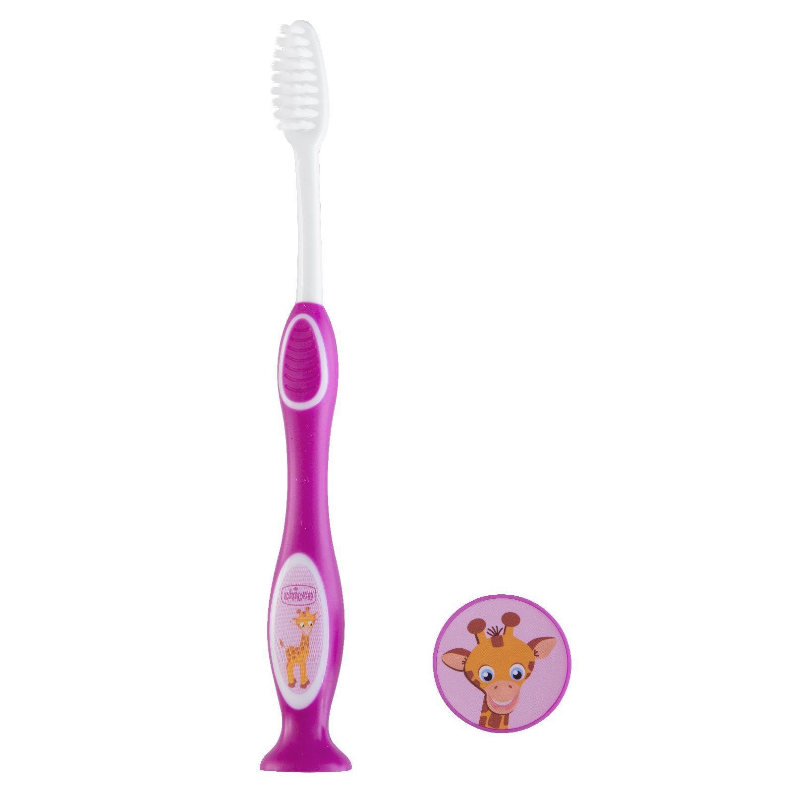 Зубная щетка с присоской Chicco Жираф фиолетовая, 3г+