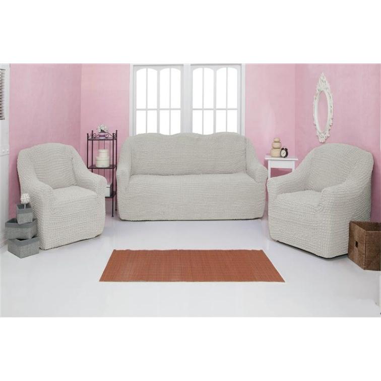 Комплект чехлов на диван и кресла без оборки CONCORDIA, молочный, 3 предмета