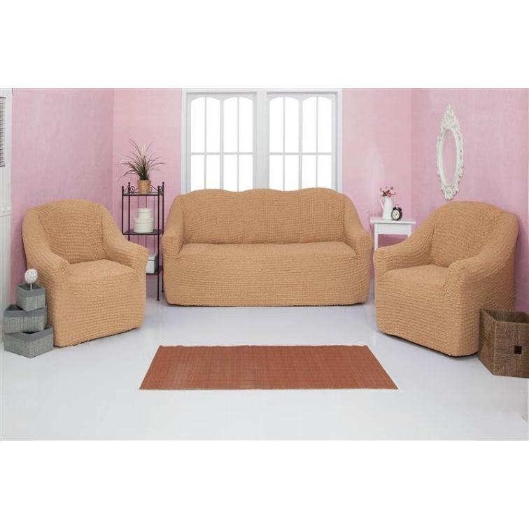 Комплект чехлов на диван и кресла без оборки CONCORDIA, кремовый, 3 предмета