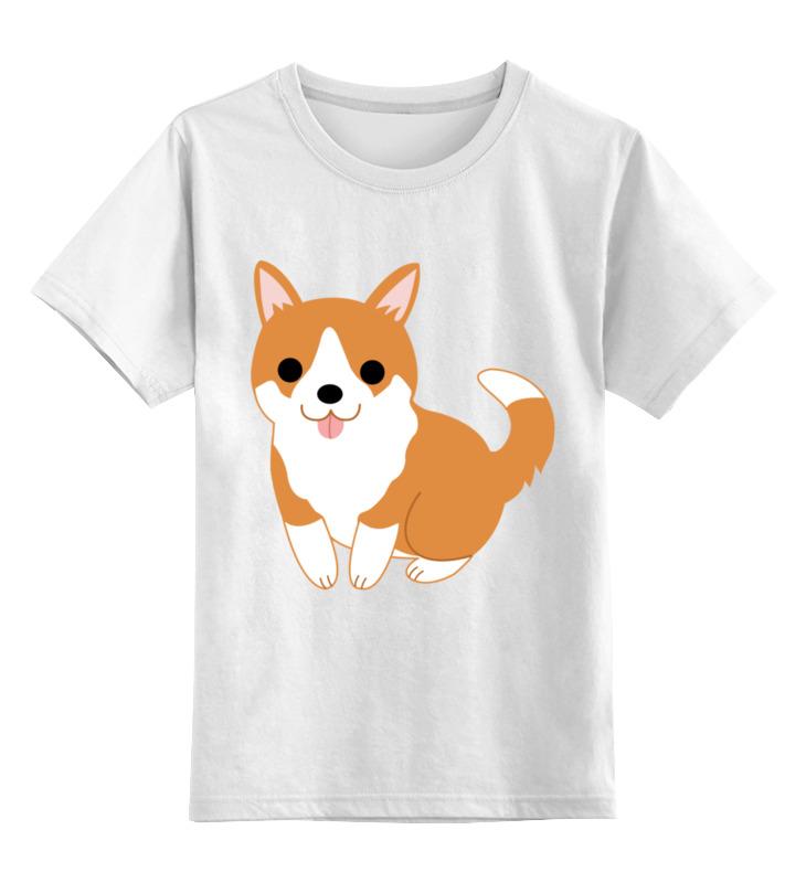 Купить 0000003239616, Детская футболка Printio Корги цв.белый р.104,