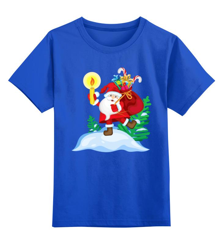 Купить 0000003066371, Детская футболка Printio Дед мороз с мешком подарков цв.синий р.164,