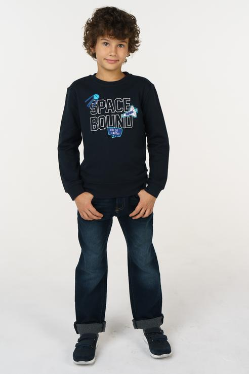 Джинсы для мальчика Sela, цв.синий, р-р 140