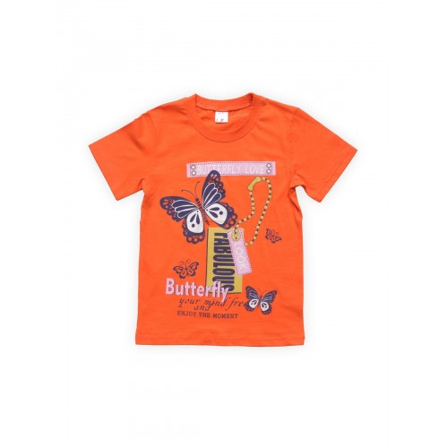 Футболка для девочек Оранжевая Веселый Супер Зайчонок, цв. оранжевый, р-р 134 фото