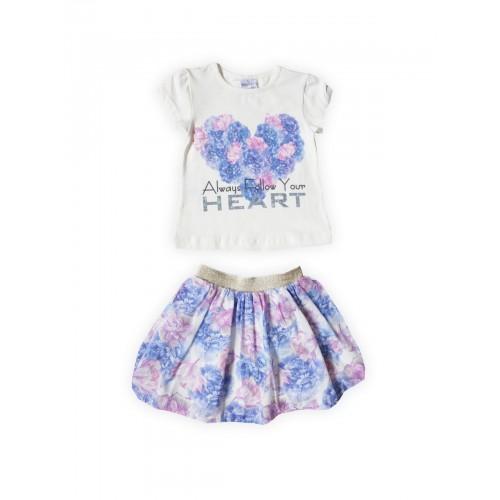 Комплект для девочек текстильный Футболка+Юбка BIDIRIK, цв. синий, р-р 92