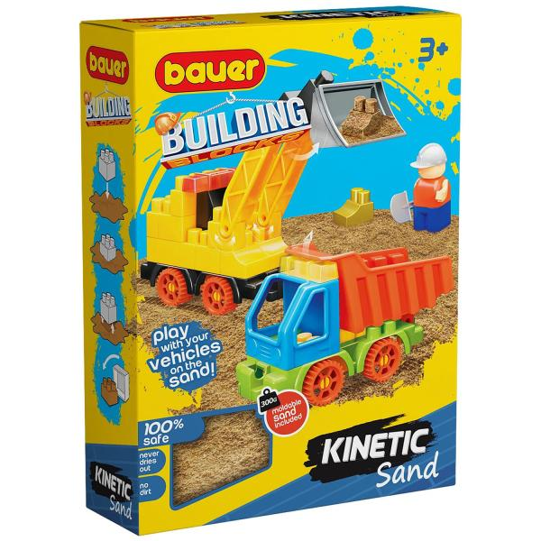 Конструктор Bauer Building Kinetic Стройка с погрузчиком и грузовиком и кинетический песок