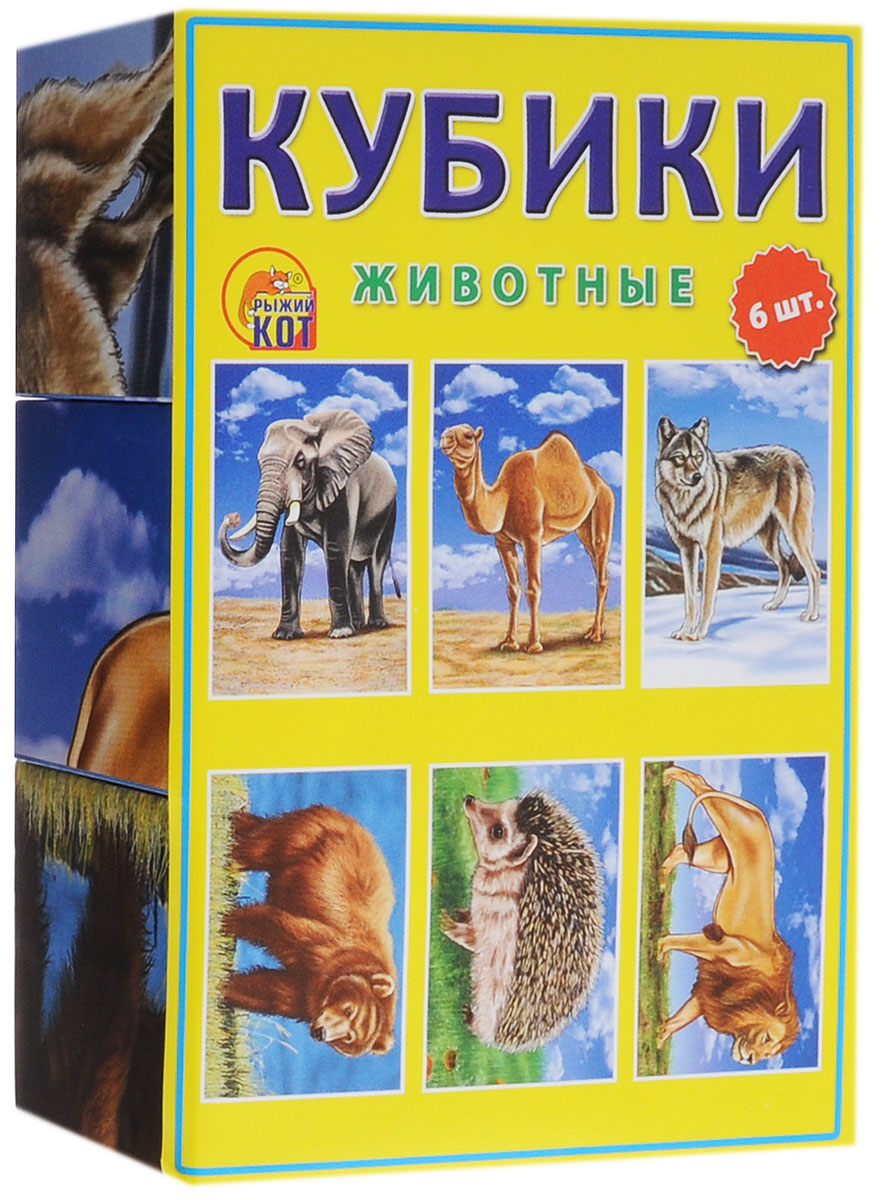 Купить Кубики Рыжий кот Животные, 6 шт., Развивающие кубики