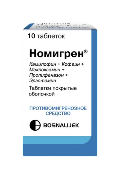 Номигрен таблетки, покрытые оболочкой №10, Bosnalijek  - купить со скидкой