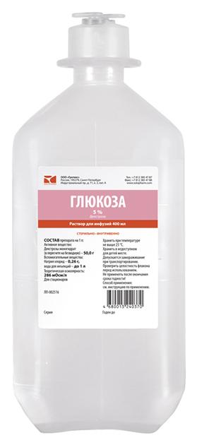 Купить Глюкоза-СОЛОфарм раствор для инфузий 5% флакон 400 мл №1, Гротекс ООО