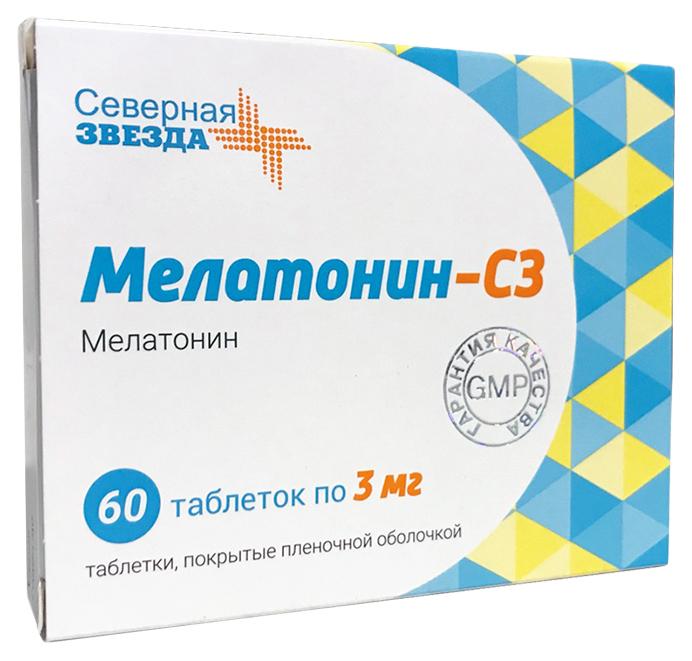 Купить Мелатонин-СЗ 3 мг, Мелатонин-СЗ таблетки, покрытые пленочной оболочкой 3 мг №60, Северная Звезда