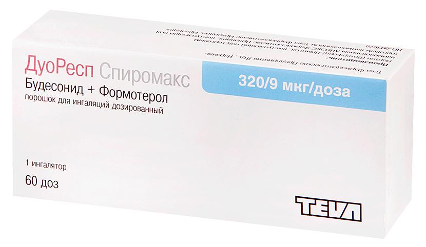 Купить ДуоРесп Спиромакс пор. для ингал.доз.320мкг+9мкг/доза бал.60доз №1, Teva
