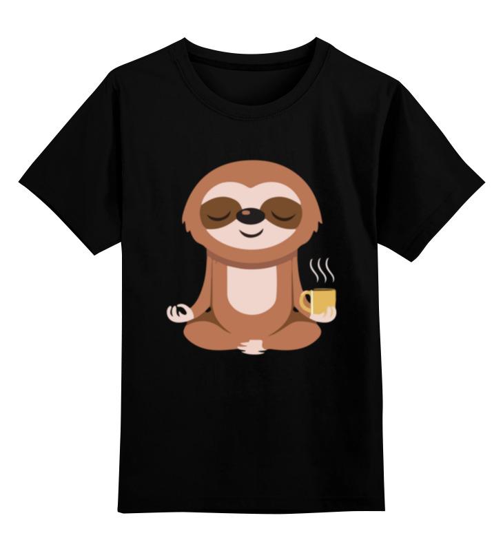 Детская футболка Printio Ленивец медитирует цв.черный р.140 0000003410387 по цене 990