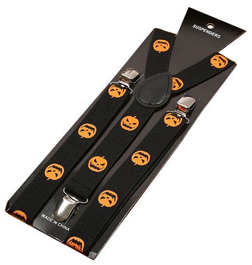 Подтяжки 2beMan черные с оранжевыми тыквами PDT36