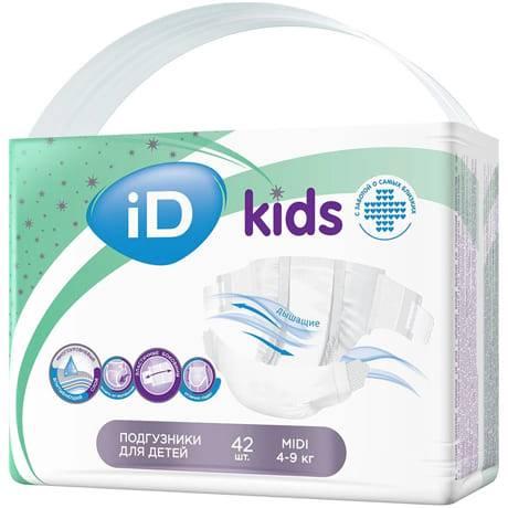 Подгузники iD Kids Midi 4-9 кг, 42 шт.