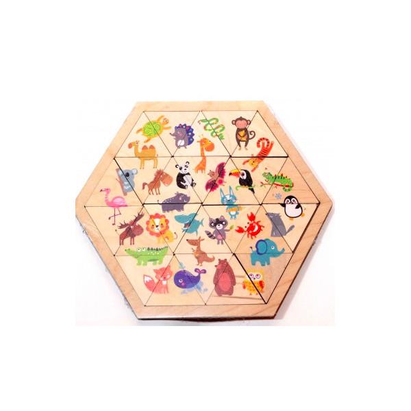 Купить Пазл деревянный Занимательные треугольники. Веселый зоопарк Десятое королевство 00780/ДK, Десятое Королевство,