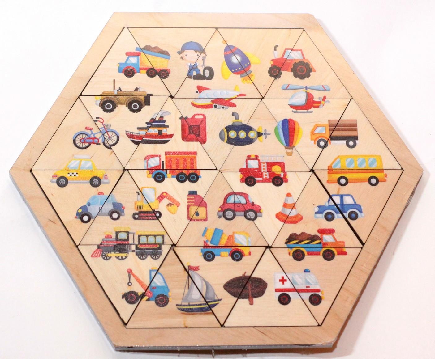 Купить Пазл деревянный Занимательные треугольники. Транспорт Десятое королевство 00779, Десятое Королевство,