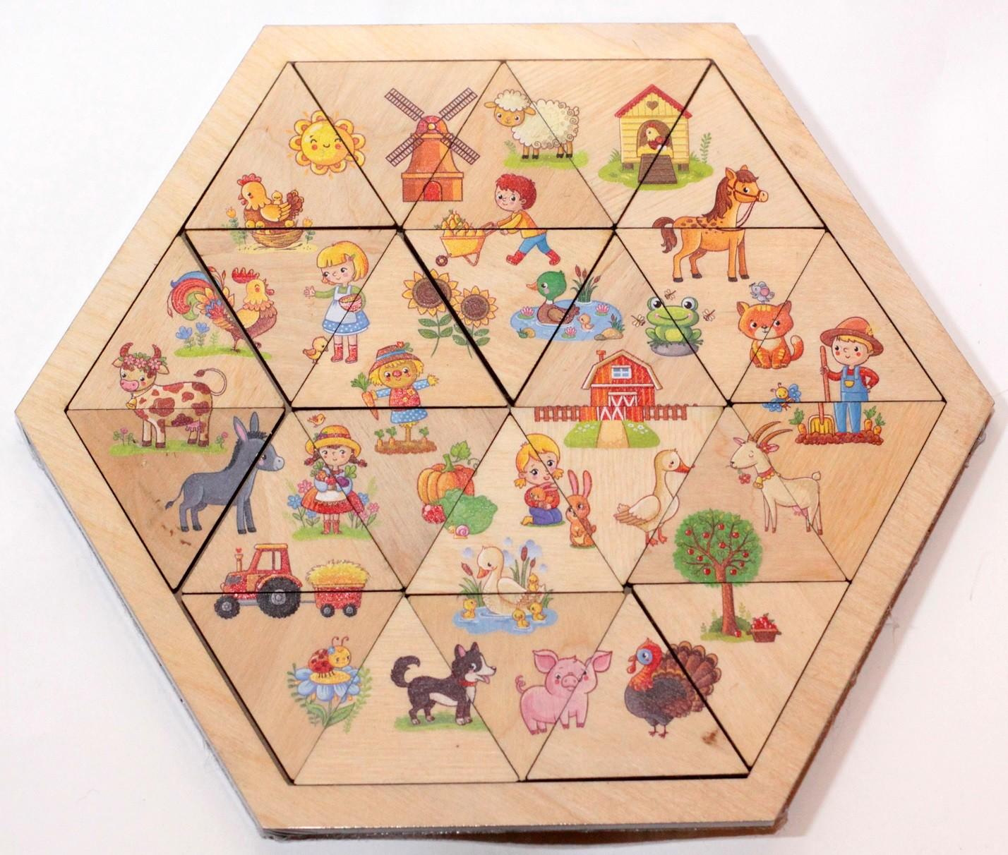 Купить Пазл деревянный Занимательные треугольники. Ферма Десятое королевство 00776, Десятое Королевство,