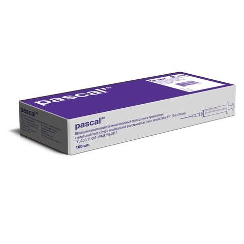 Купить Шприц 3-х компонентный PASCAL 3 мл 100 шт. в коробке игла 0, 6 х 30 23G 120305