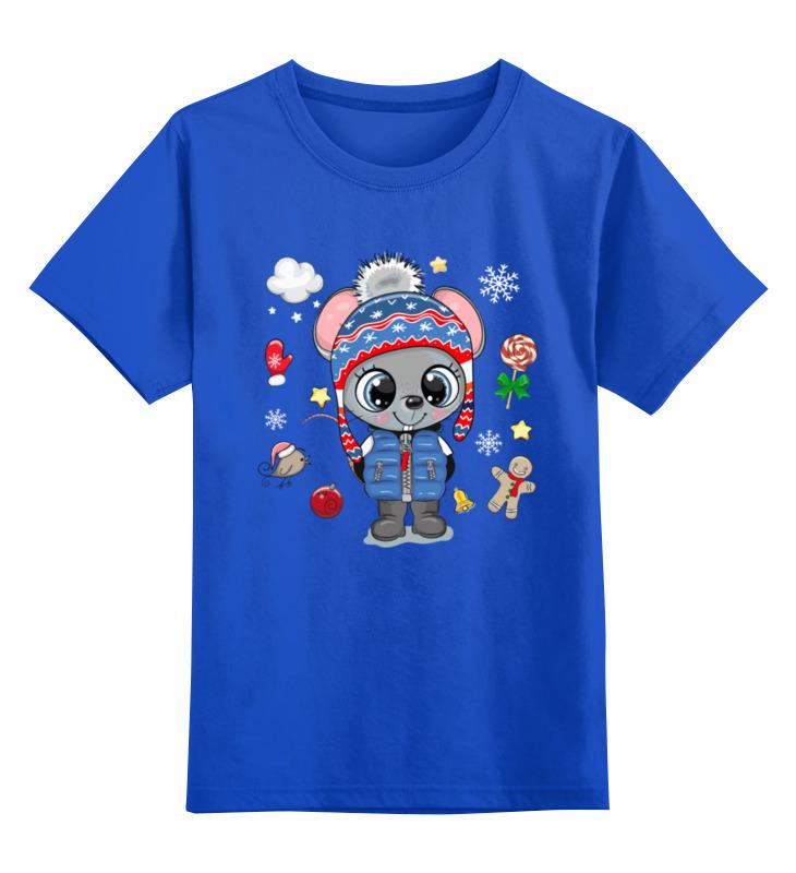 Купить 0000003062469, Детская футболка Printio Мышонок цв.синий р.128,