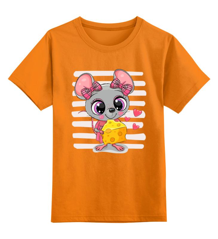 Купить 0000003062572, Детская футболка Printio Мышонок цв.оранжевый р.128,