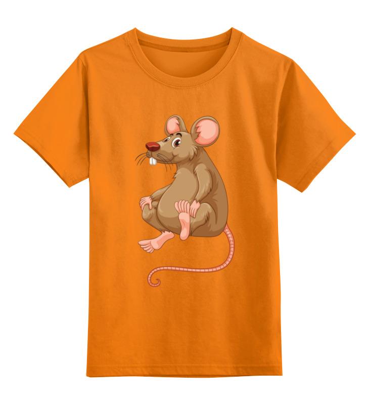 Купить 0000003062583, Детская футболка Printio Мышонок цв.оранжевый р.128,