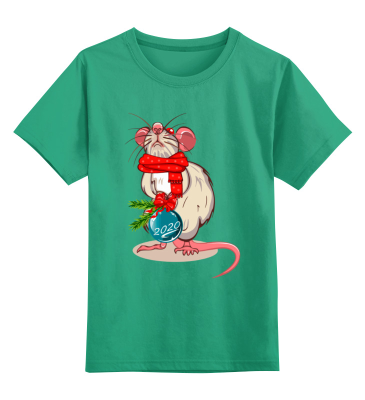 Купить 0000003062592, Детская футболка Printio Мышонок цв.зеленый р.128,